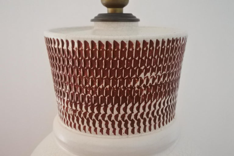 French Ceramic Table Lamp by Pol Chambost, France 1940s For Sale