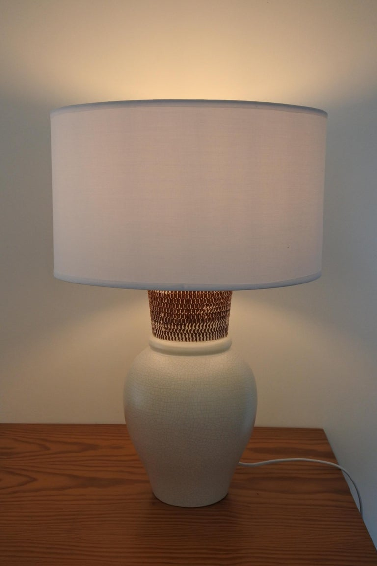 Mid-20th Century Ceramic Table Lamp by Pol Chambost, France 1940s For Sale