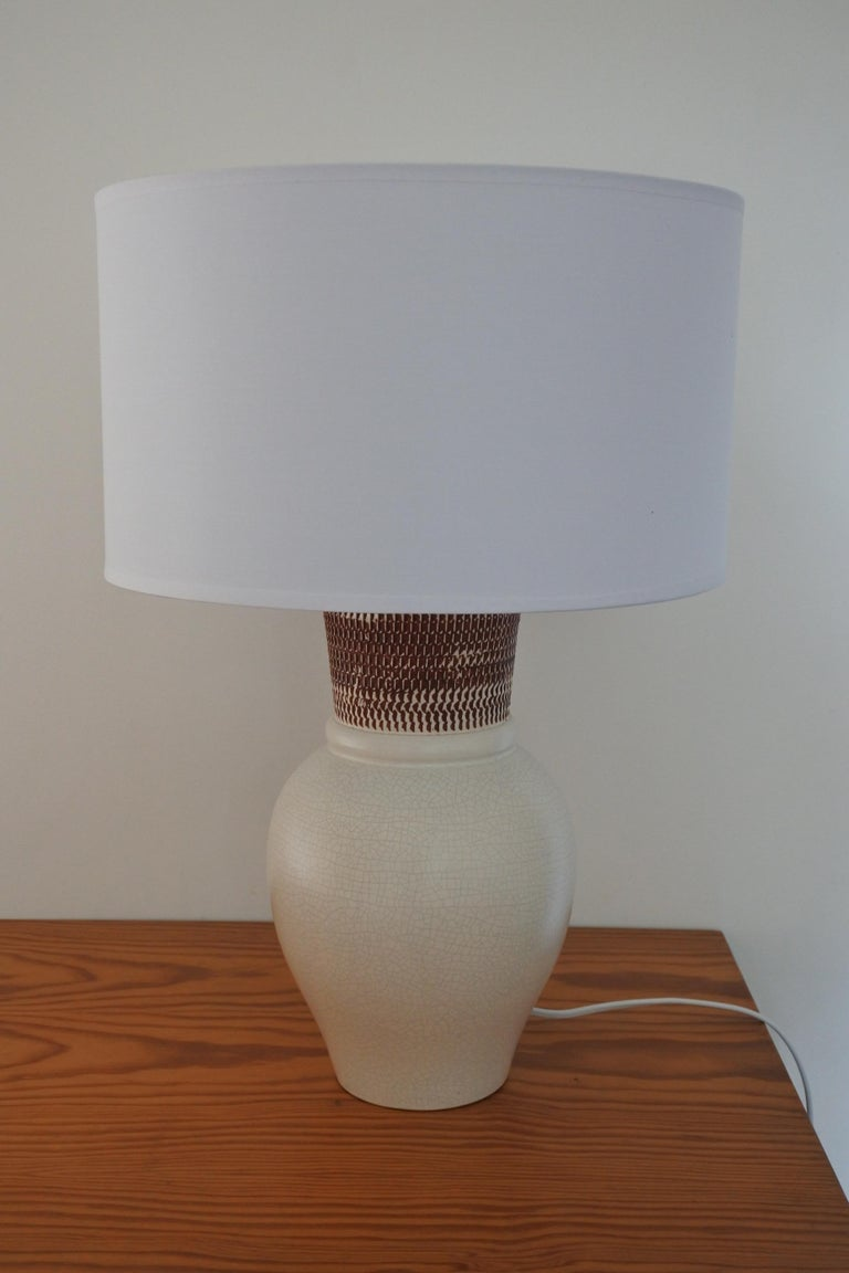 Ceramic Table Lamp by Pol Chambost, France 1940s For Sale 1