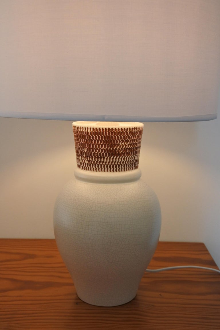 Ceramic Table Lamp by Pol Chambost, France 1940s For Sale 2
