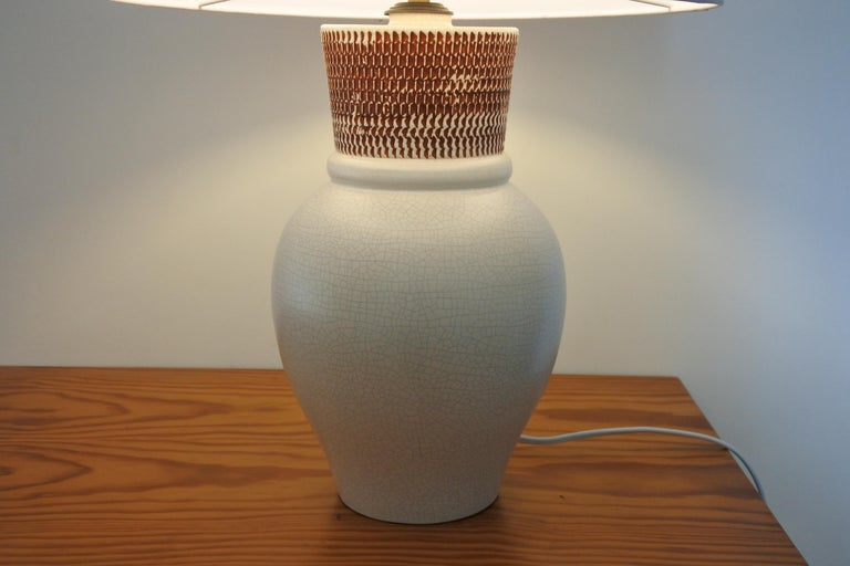 Ceramic Table Lamp by Pol Chambost, France 1940s For Sale 3