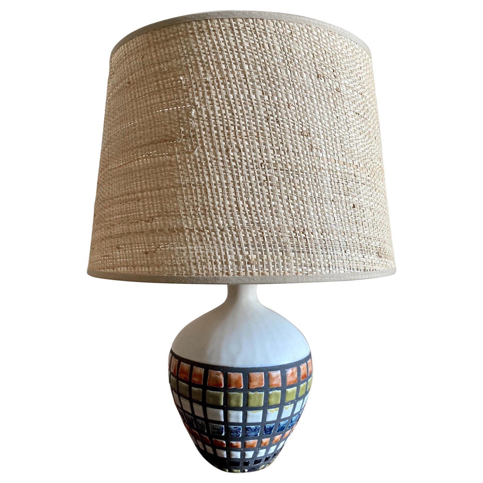 Ceramic Table Lamp, Capron Vallauris, 1960