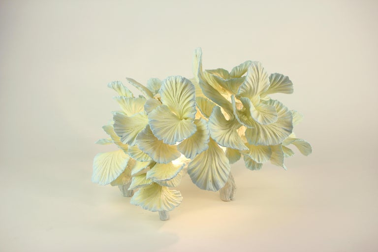 Hand-Carved Ceramic Table Lamp, Matt Painted, Made to Order by Designer Teemu Salonen For Sale