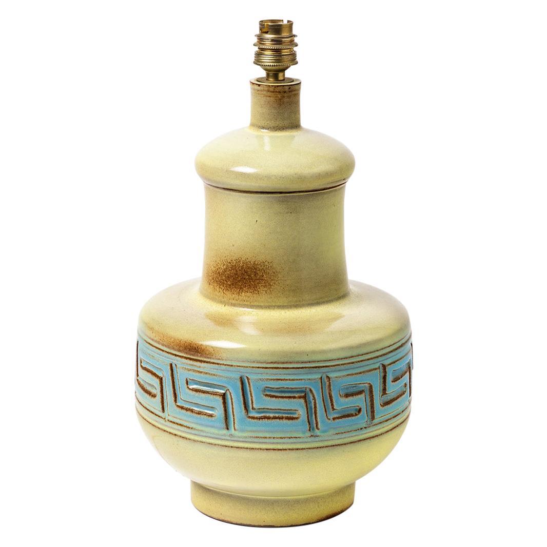 Ceramic Table Lamp Signed, Vallauris, circa 1960-1970