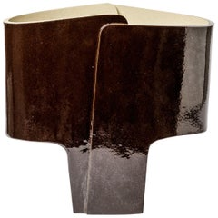 Ceramic Table Lamp with Brown Glaze Decoration by Denis Castaing, 2020