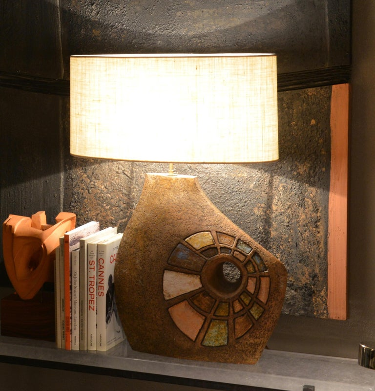 Ceramic Table Lamp with Colored Elements, France, 1960s In Excellent Condition For Sale In Roma, IT
