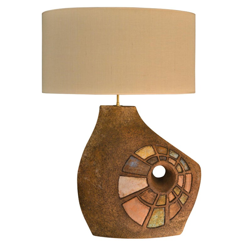 Ceramic Table Lamp with Colored Elements, France, 1960s For Sale