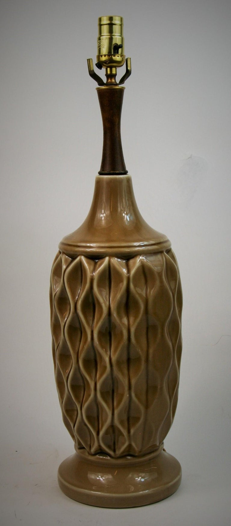 Late 20th Century Ceramic Table Lamp with Geometric Detailing, 1970s For Sale