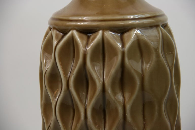 Ceramic Table Lamp with Geometric Detailing, 1970s For Sale 1