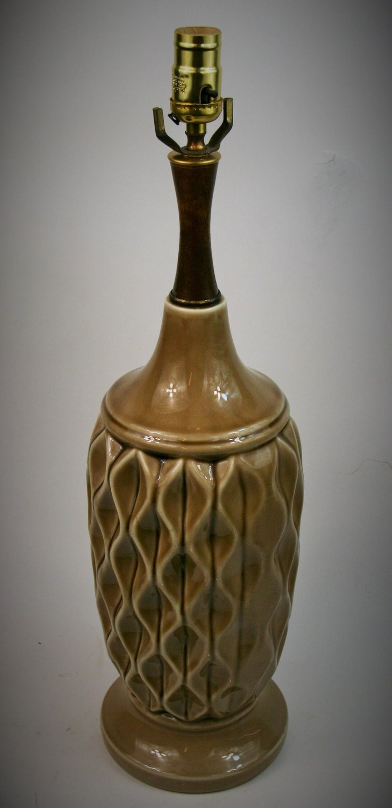 Ceramic Table Lamp with Geometric Detailing, 1970s For Sale 2