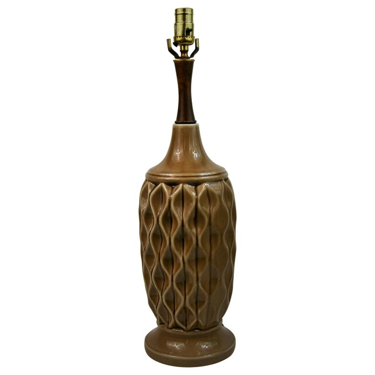 Ceramic Table Lamp with Geometric Detailing, 1970s For Sale