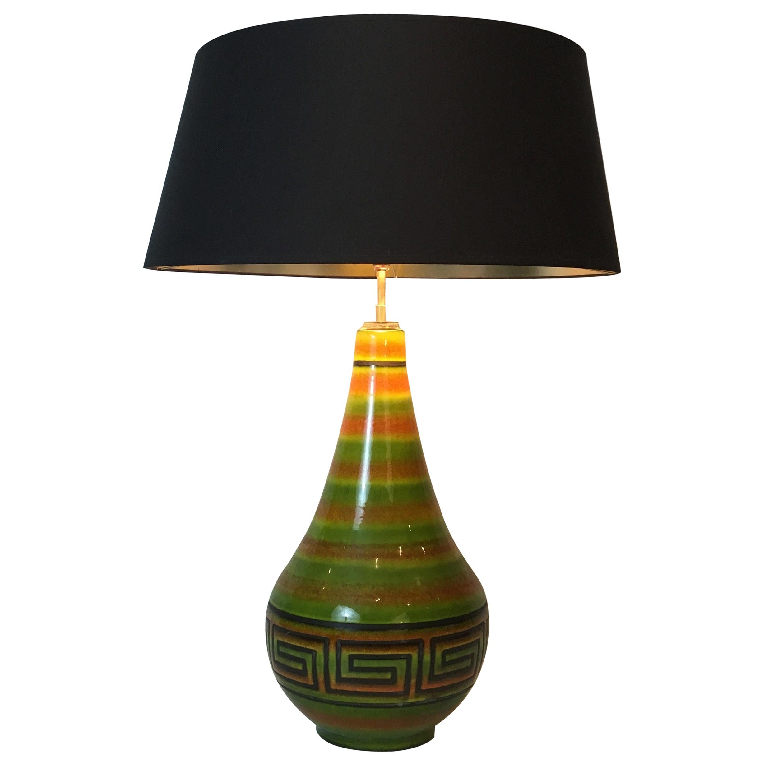 Ceramic Table Lamp with Greek Key Decors, French, circa 1970
