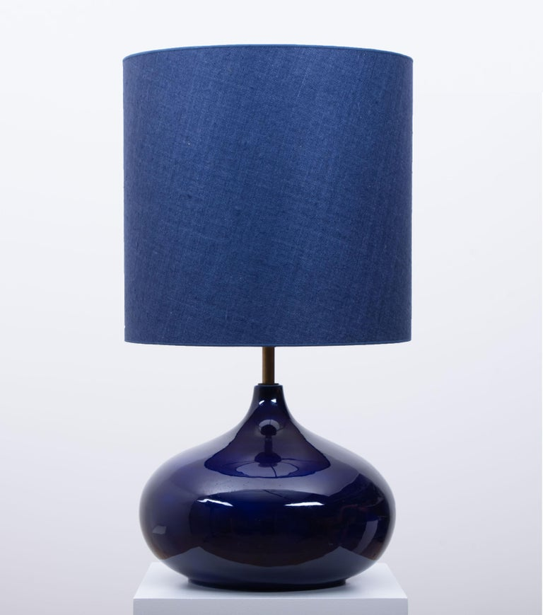 20th Century Ceramic Table Lamp with New Silk Custom Made Lampshade René Houben, 1960s For Sale