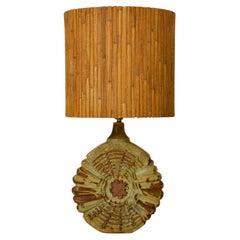Ceramic Table Lamp with Original Shade by Bernard Rooke, England