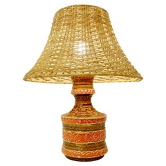 Ceramic Table Lamp with Rattan Lampshade