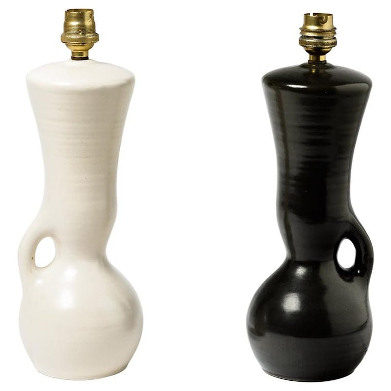Ceramic Table Lamps Black and White Design 1950 Attributed to Pol Chambost, Pair For Sale