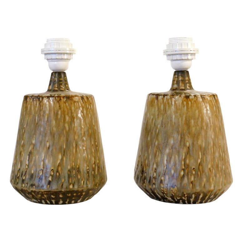 Ceramic Table Lamps by Gunnar Nylund for Rörstrand, Sweden, 1960s For Sale