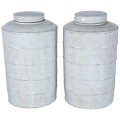 Ceramic Tall Blanc De Chine Ginger Jar with Lids