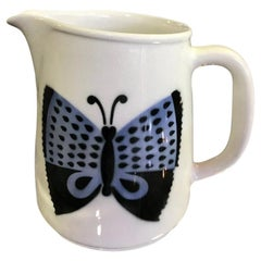 Ceramic Tall Butterfly Pitcher Arabia, Finland