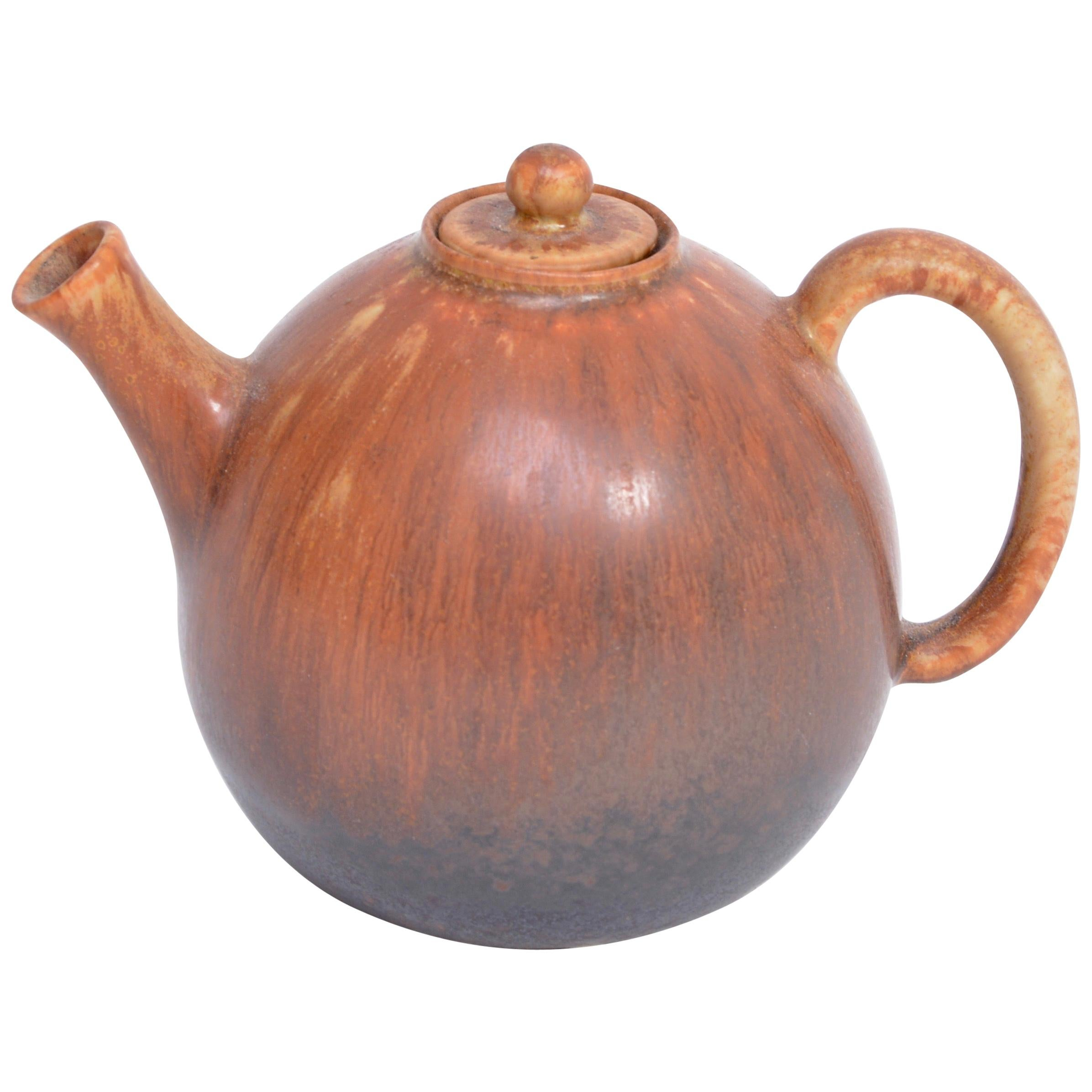 Brown Mid-Century Modern Ceramic tea pot by Carl Harry Stalhane for Rörstrand
