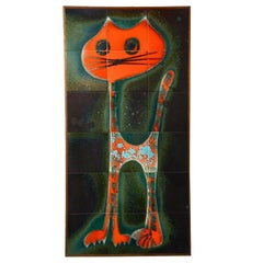 Ceramic Tile Wall Art Decoration from a Cat