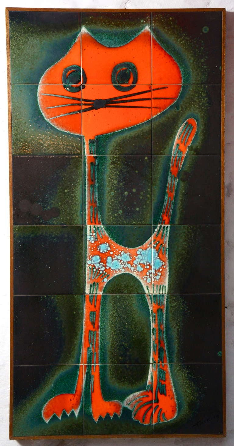 Ceramic tile wall decoration of a Cat. Height 94 cm. Width 47 cm.
