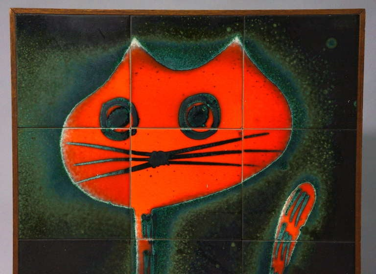 Belgian Ceramic Tile Wall Decoration of a Cat For Sale