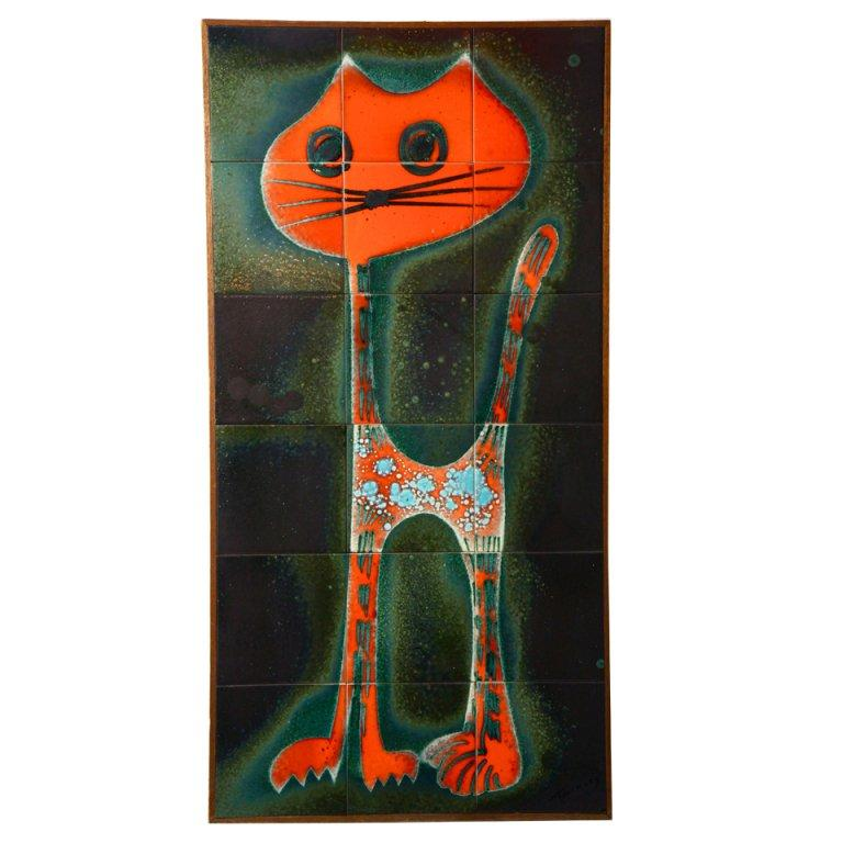Ceramic Tile Wall Decoration of a Cat For Sale