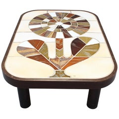 Ceramic Tiled Coffee Table by Roger Capron, circa 1970s