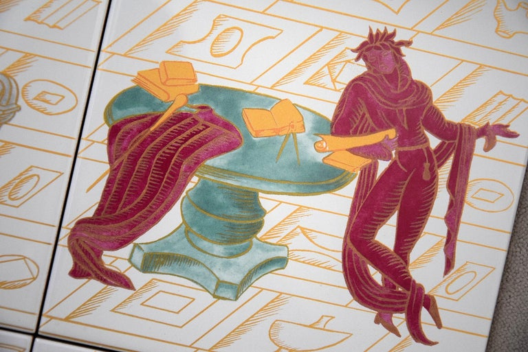 Art Nouveau Ceramic Tiles with La Conversazione Classica Designed by Gio Ponti For Sale