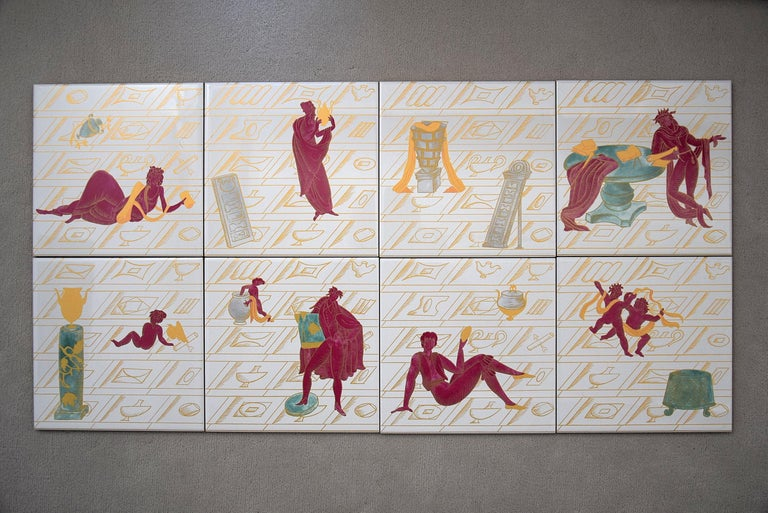 Ceramic Tiles with La Conversazione Classica Designed by Gio Ponti For Sale 2
