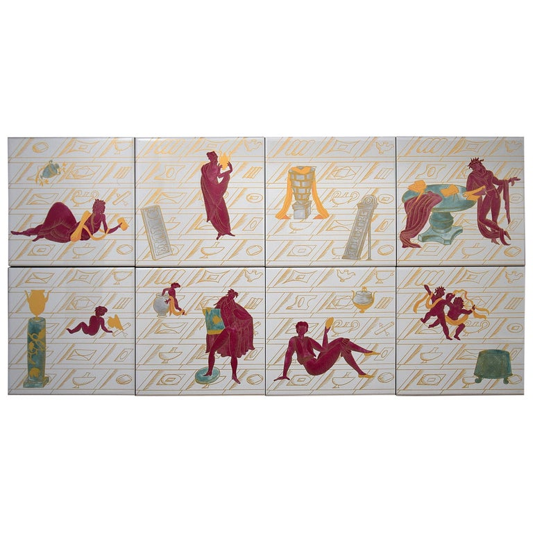 Ceramic Tiles with La Conversazione Classica Designed by Gio Ponti For Sale