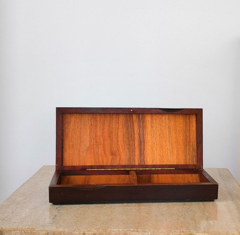 Ceramic Top Box in Darkened Wood, in the Style of Line Vautrin In Good Condition For Sale In New York, NY