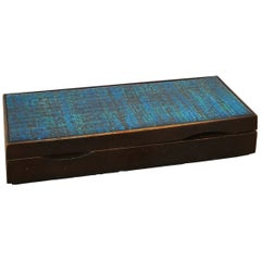 Ceramic Top Box in Darkened Wood, in the Style of Line Vautrin