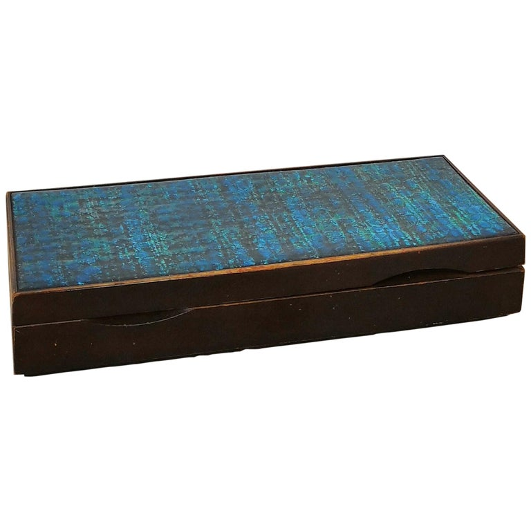 Ceramic Top Box in Darkened Wood, in the Style of Line Vautrin For Sale
