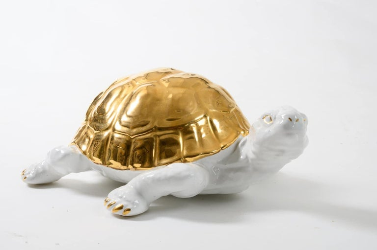 Ceramic Tortoise with Gold Detailing by Ronzan For Sale 5