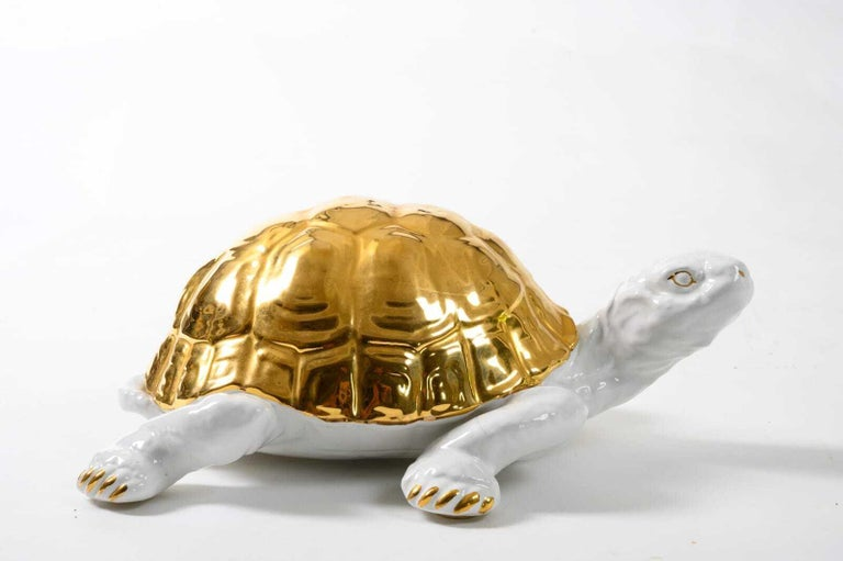 Italian Ceramic Tortoise with Gold Detailing by Ronzan For Sale