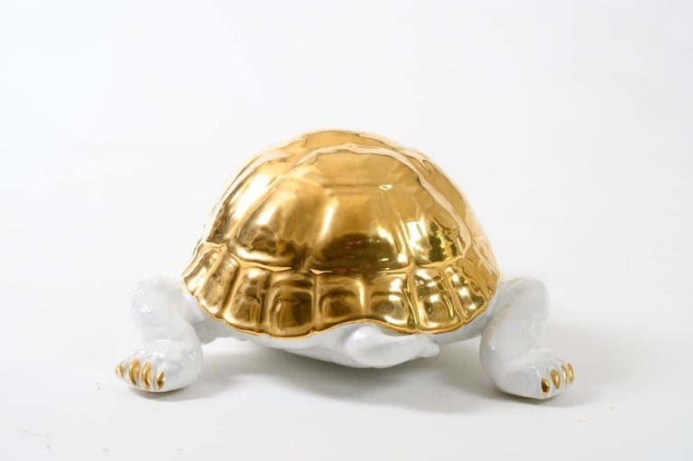Ceramic Tortoise with Gold Detailing by Ronzan In Good Condition For Sale In Fingest, Oxfordshire
