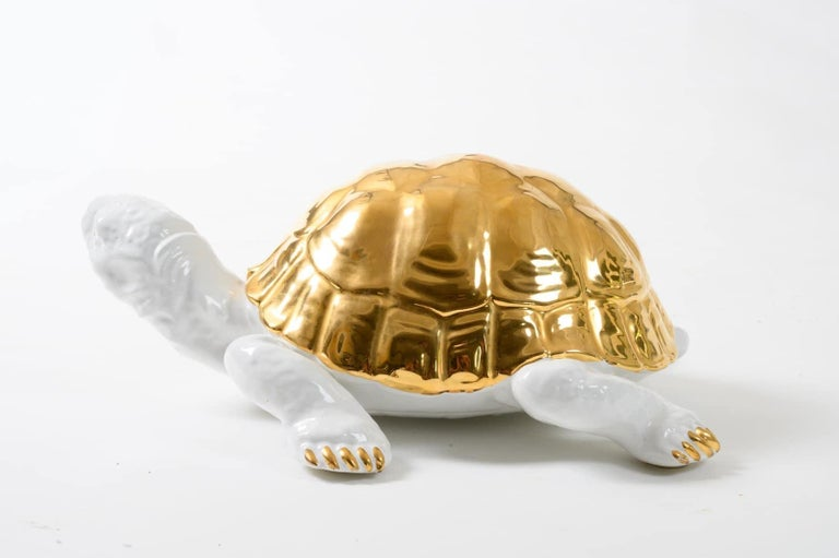 Late 20th Century Ceramic Tortoise with Gold Detailing by Ronzan For Sale