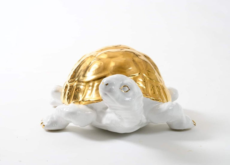 Ceramic Tortoise with Gold Detailing by Ronzan For Sale 1