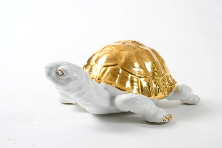 Ceramic Tortoise with Gold Detailing by Ronzan For Sale 2