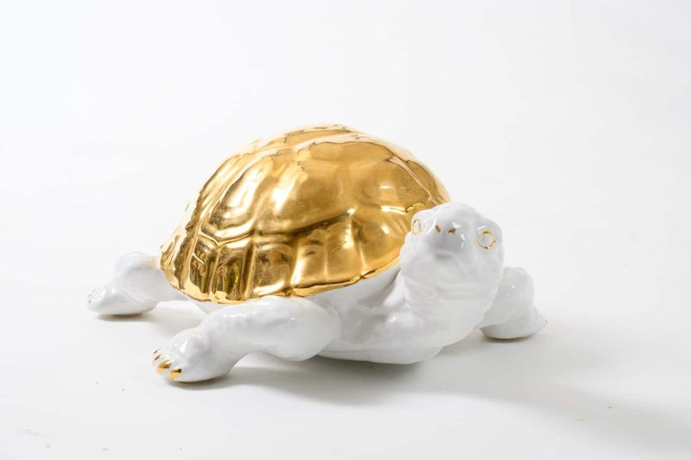 Ceramic Tortoise with Gold Detailing by Ronzan For Sale 3