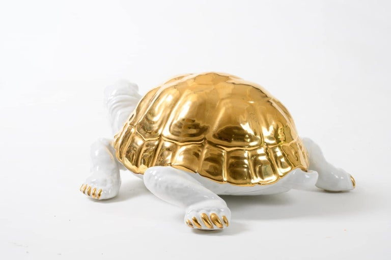 Ceramic Tortoise with Gold Detailing by Ronzan For Sale 4
