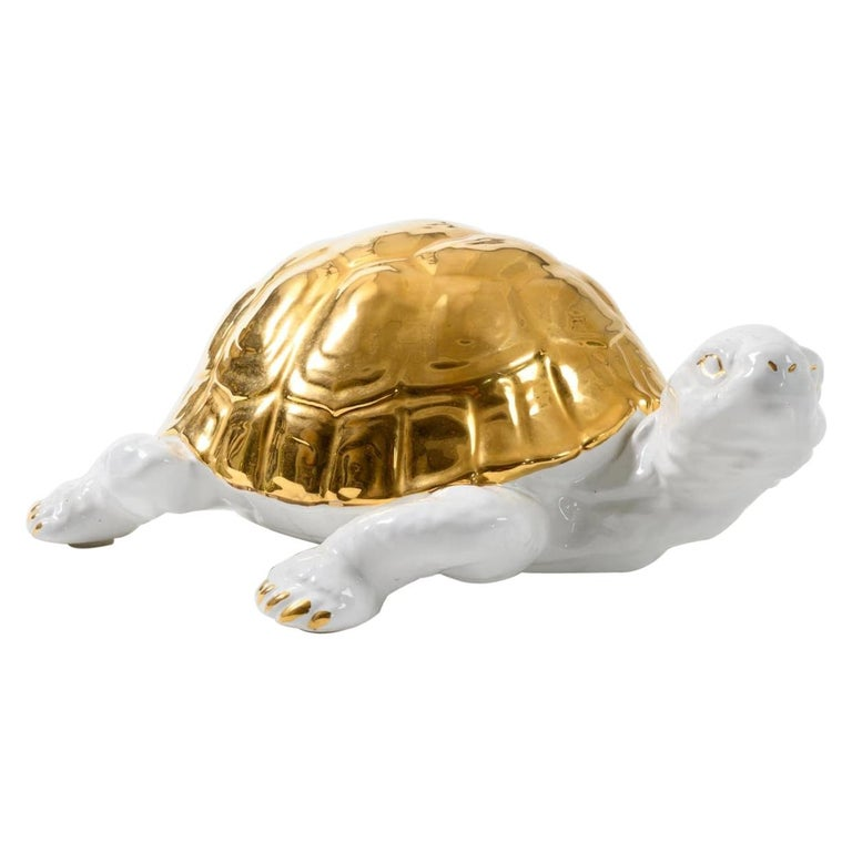 Ceramic Tortoise with Gold Detailing by Ronzan For Sale