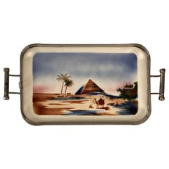 Ceramic Tray with Metal Montage and Egyptian Motiv from the 1920s