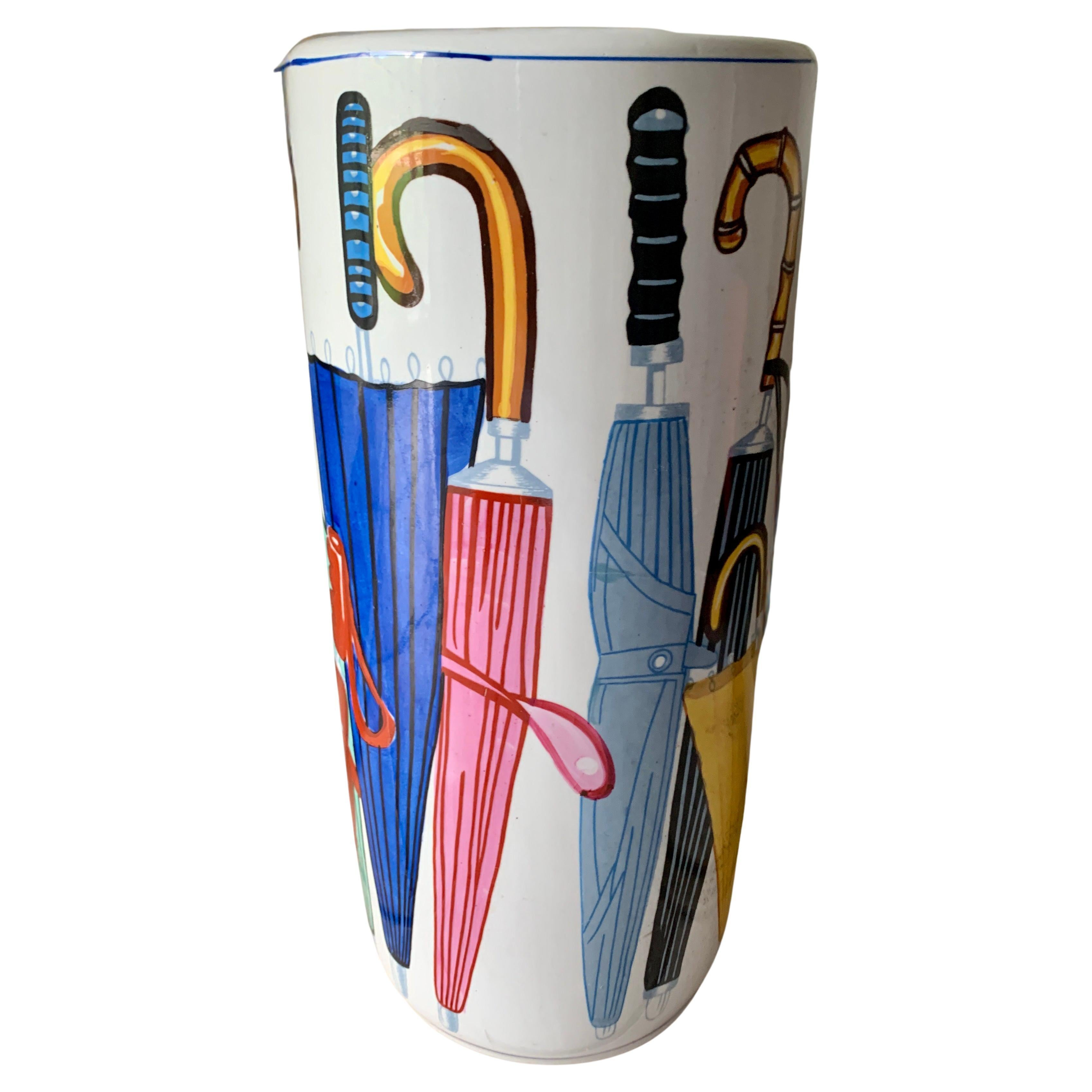 Ceramic Umbrella Stand with Umbrella Illustrations in the Style of Fornasetti