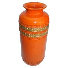 Ceramic Vase by Aldo Londi Bitossi, Italy, C 1960, Mid-Century, Orange/Gold Trim