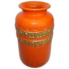Ceramic Vase by Aldo Londi Bitossi, Italy, C 1960, Orange with Gold Decoration