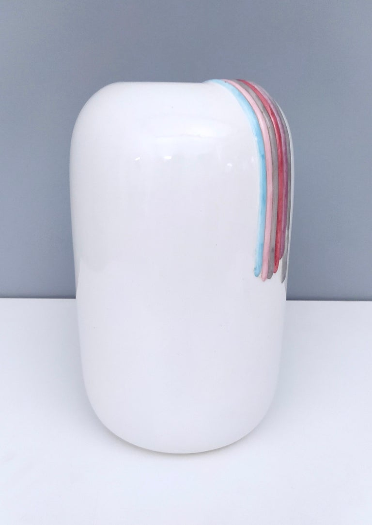 Ceramic Vase by Ambrogio Pozzi with Hand Painted Details, Italy, 1980s In Excellent Condition For Sale In Bresso, Lombardy