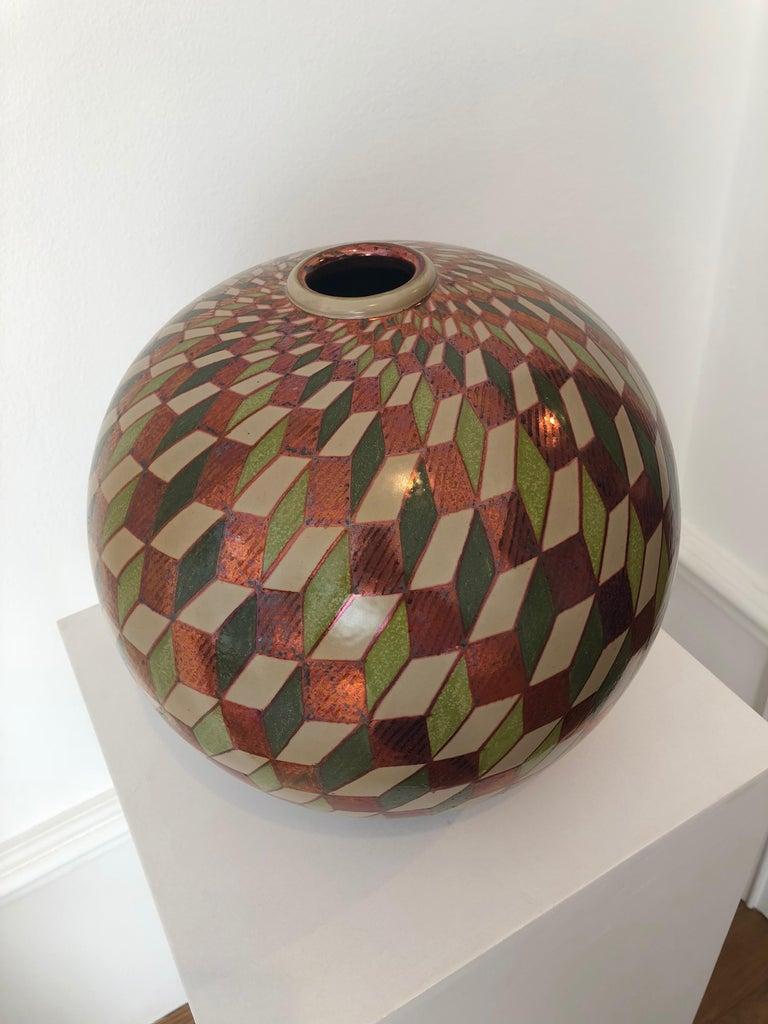 Ceramic vase by Bottega Vignoli Hand Painted Glazed Earthenware Italian  For Sale 1